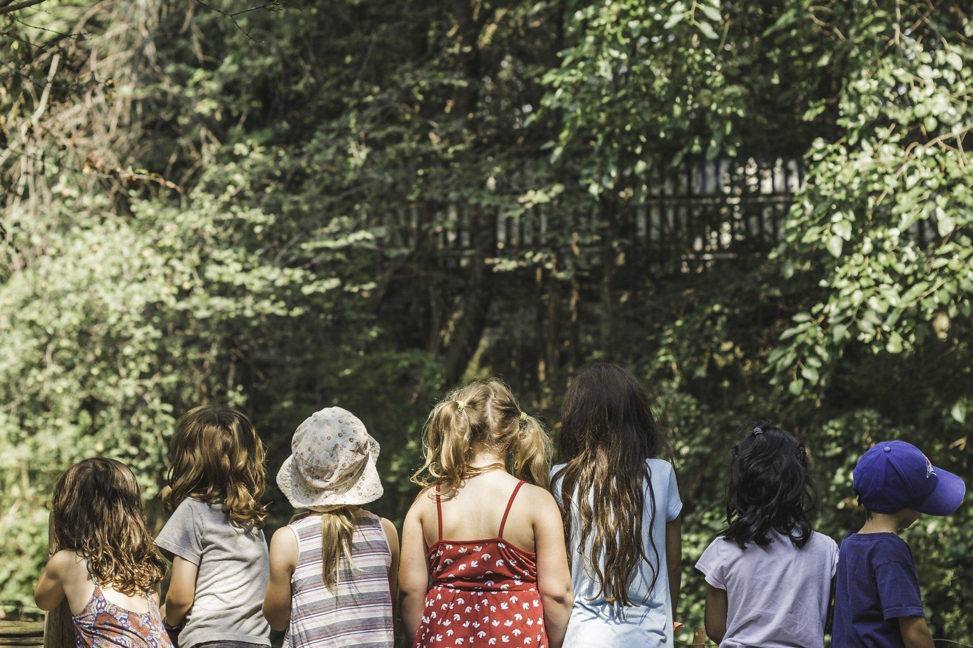 Des enfant se tiennent alignés de dos.