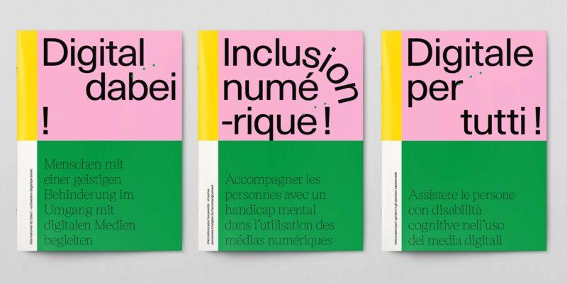 """L'image présente les couvertures trilingues de la brochure """"inclusion numérique!""""."""
