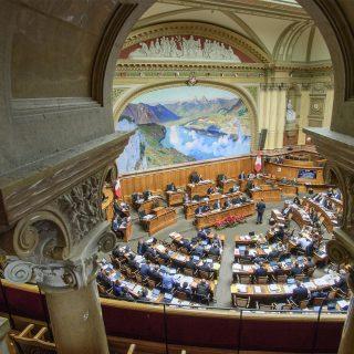 Vue d'en haut du parlement suisse
