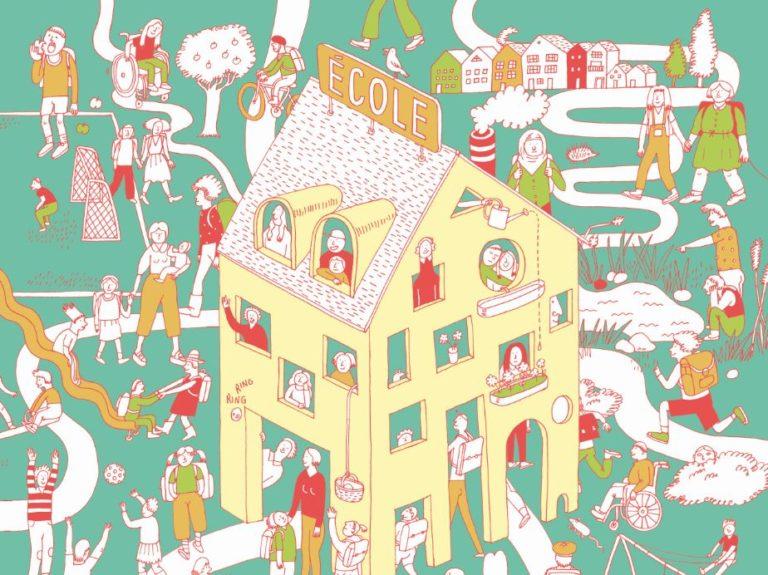 Illustration eines Gebäudes mit viele Leute