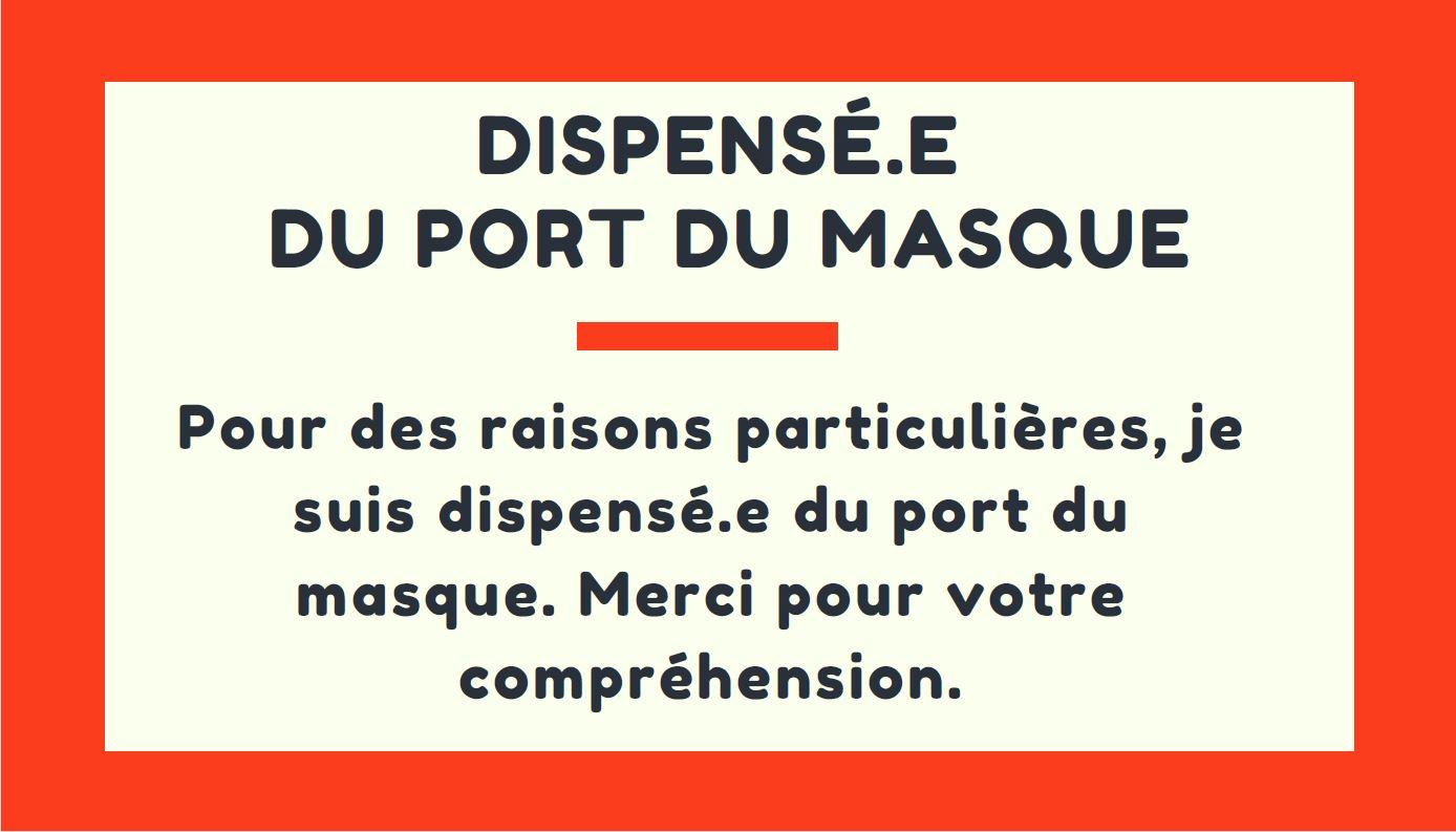 carte de dispense port du masque