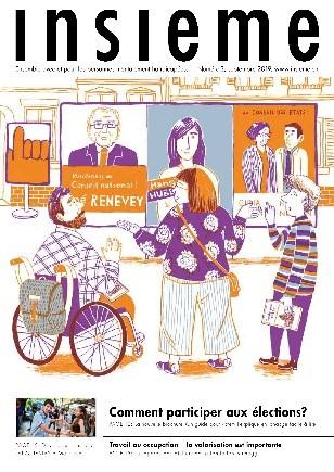 la couverture du magzine insieme présente un dessin de trois personnes devant un panneau d'affichage