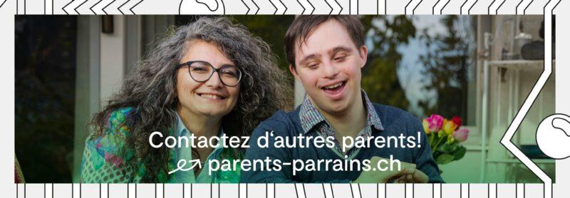 Une femme et son fils sourient et un texte indique un lien vers parents-parrains.ch.