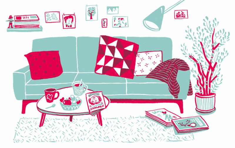 L'illustration montre un salon avec un canapé vert