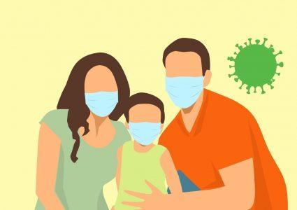 Die Illustration zeigt ein Paar mit seinem Kind, alle tragen Gesichtsmasken.
