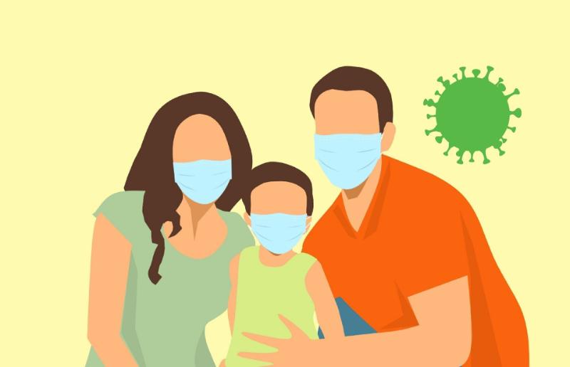 Die Illustration zeigt ein Paar und ihr Sohn mit Masken.