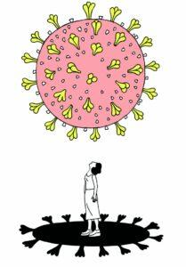 Coronavirus schwebt über einer Frau