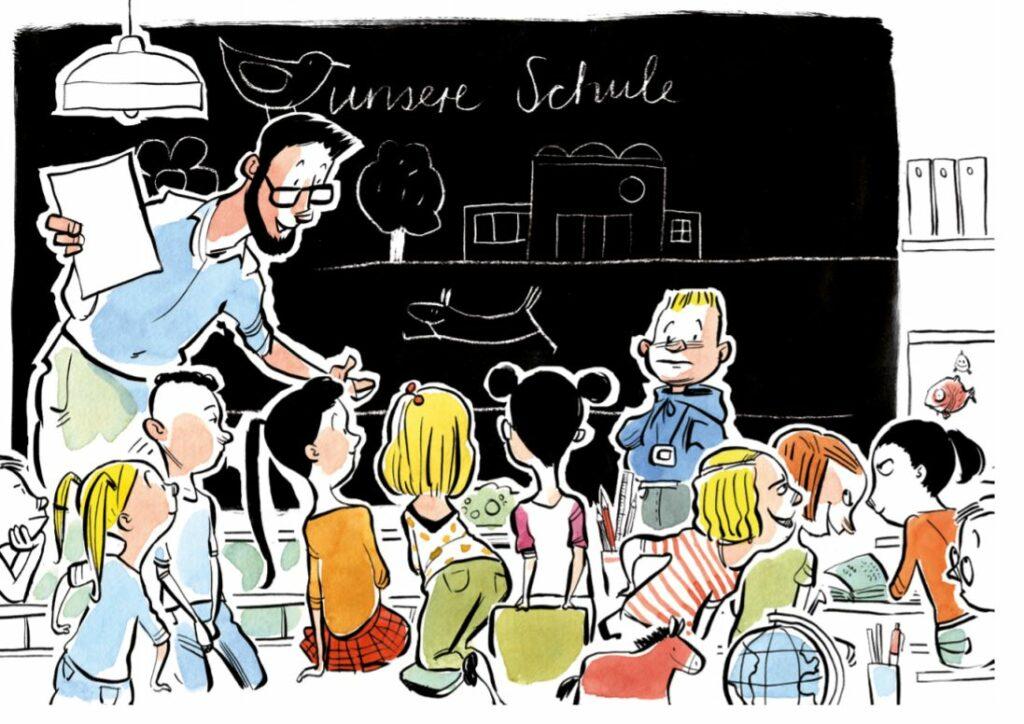 Zeichnung einer Schulklasse vor einer schwarzen Tafel